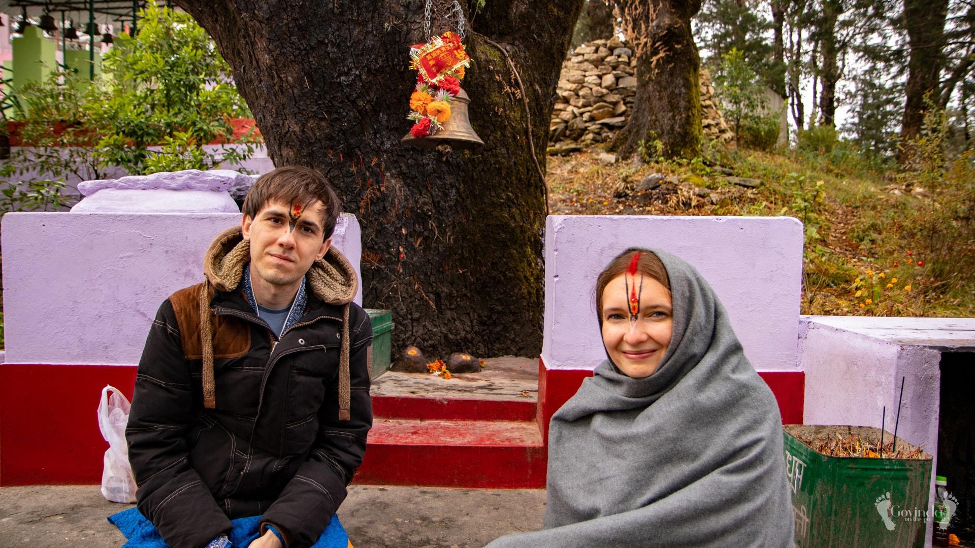 Achala and Govindadas under tree where Mahavatar Babaji was meditating