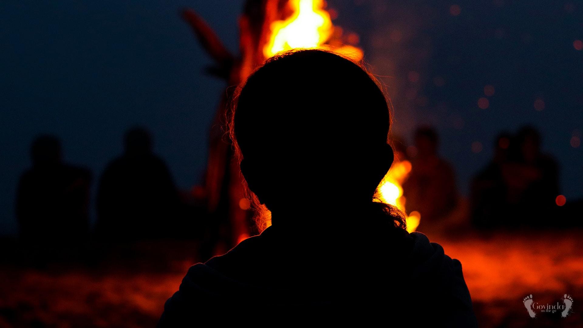 Bonfire on Ramachandi beach in Konark India