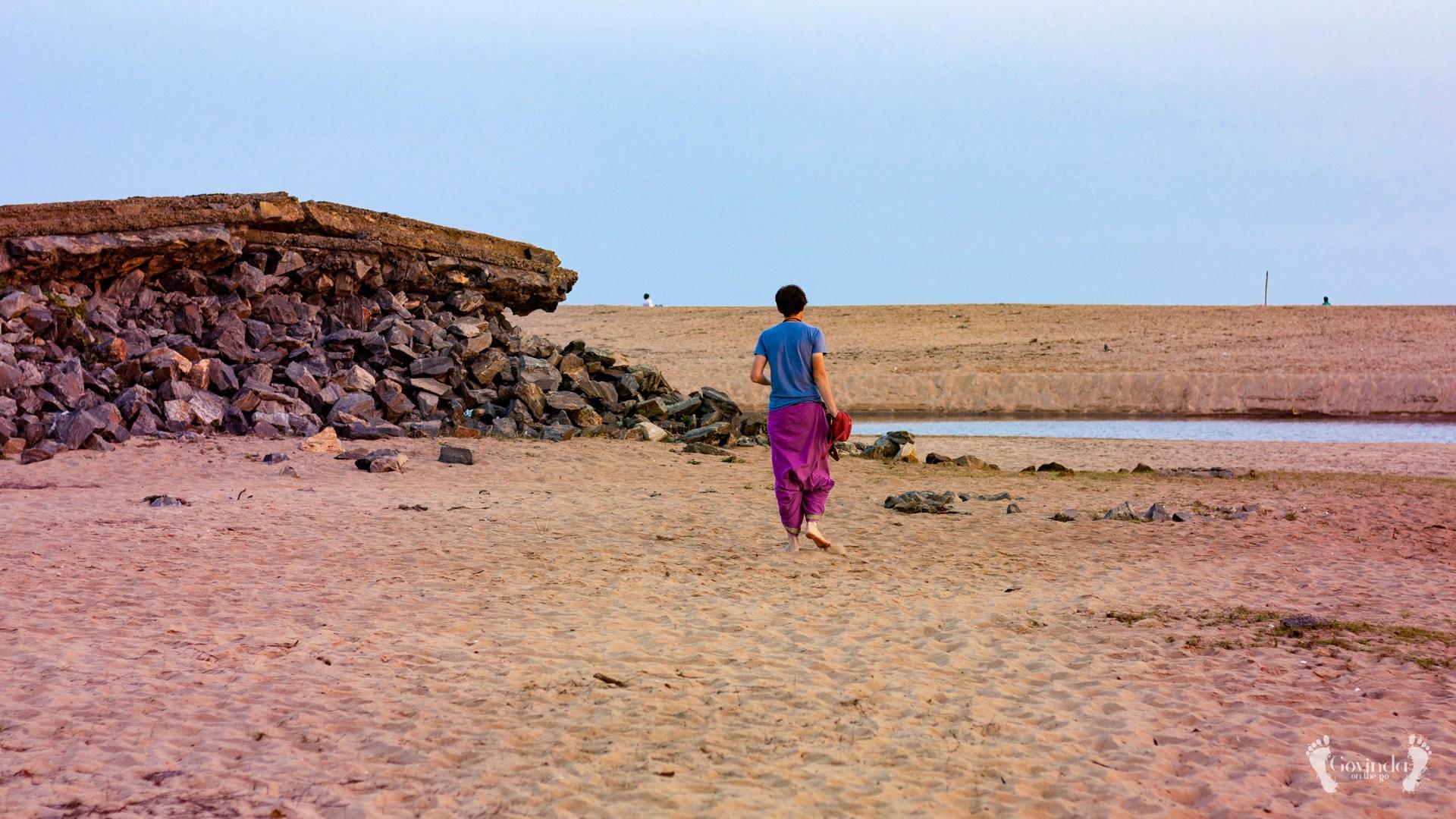 Govindadas on japa walk on Ramachandi beach
