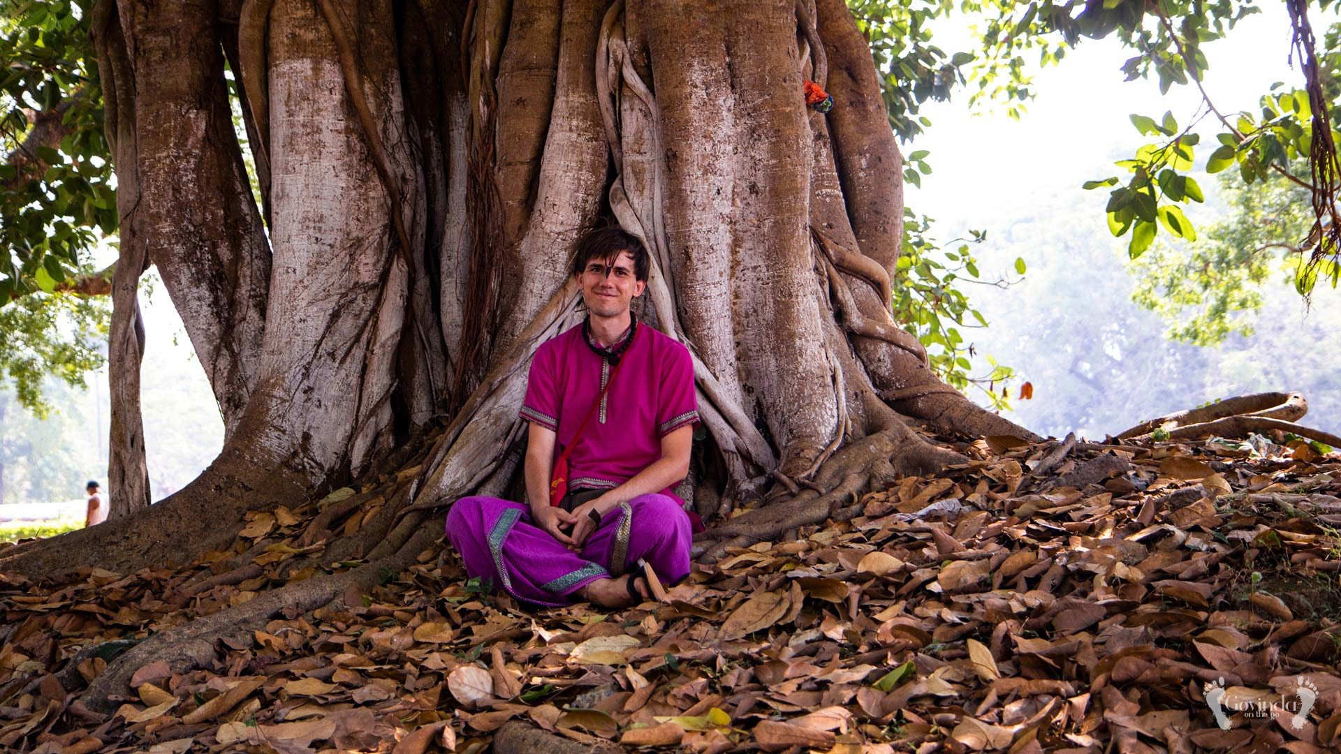 Govindadas sitting under the tree at Surya temple in Konark