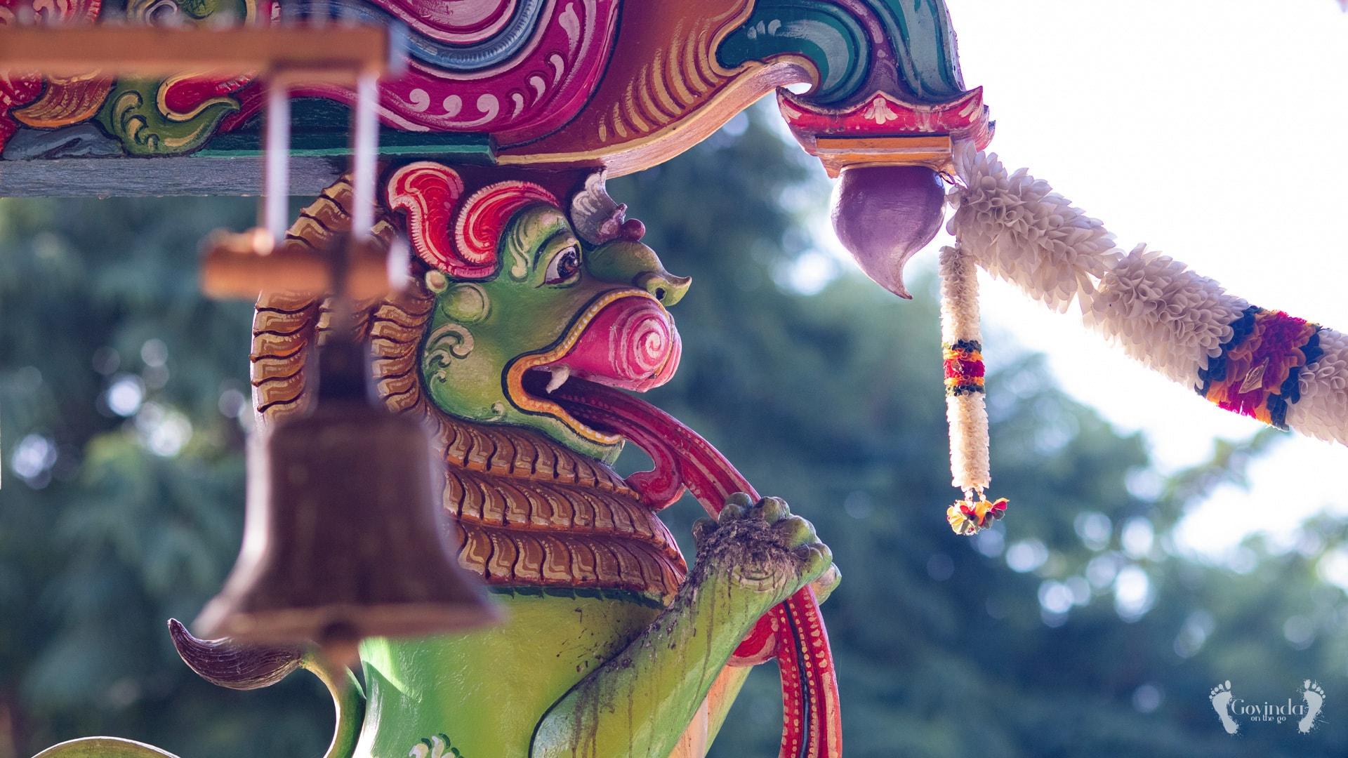 Lion ornaments in Parashakti Peetha temple in Mauritius