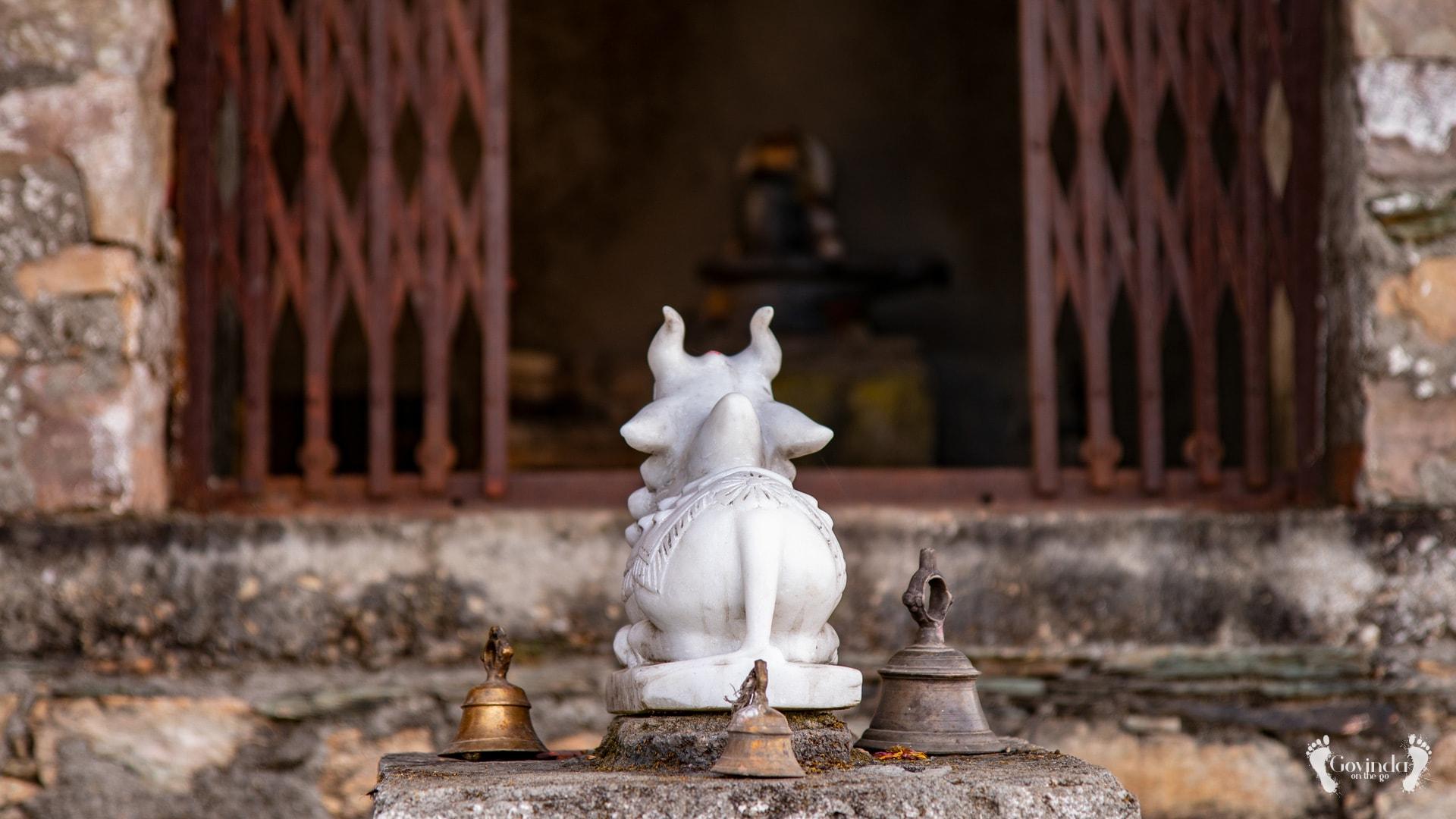 Nandi looking at Lord Shiva in Ma Sukhadevi Mandir