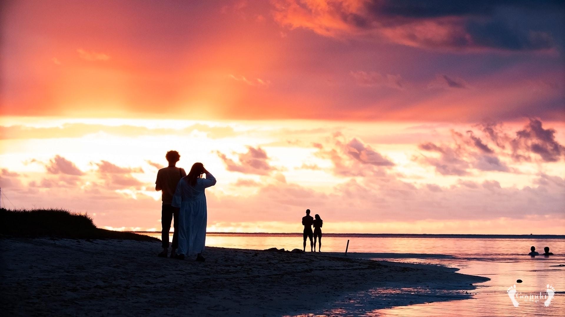 Romantic sunset on Mauritius beach