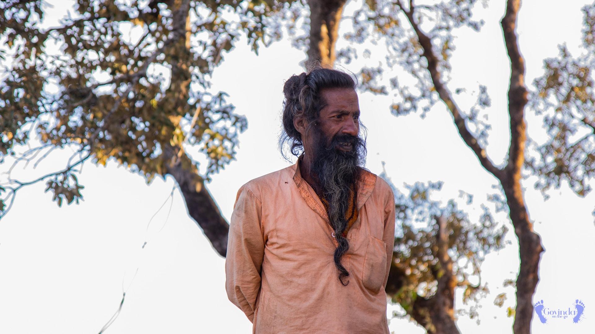 Sadhu living in Ma Sukhadevi Mandir in Dunagiri