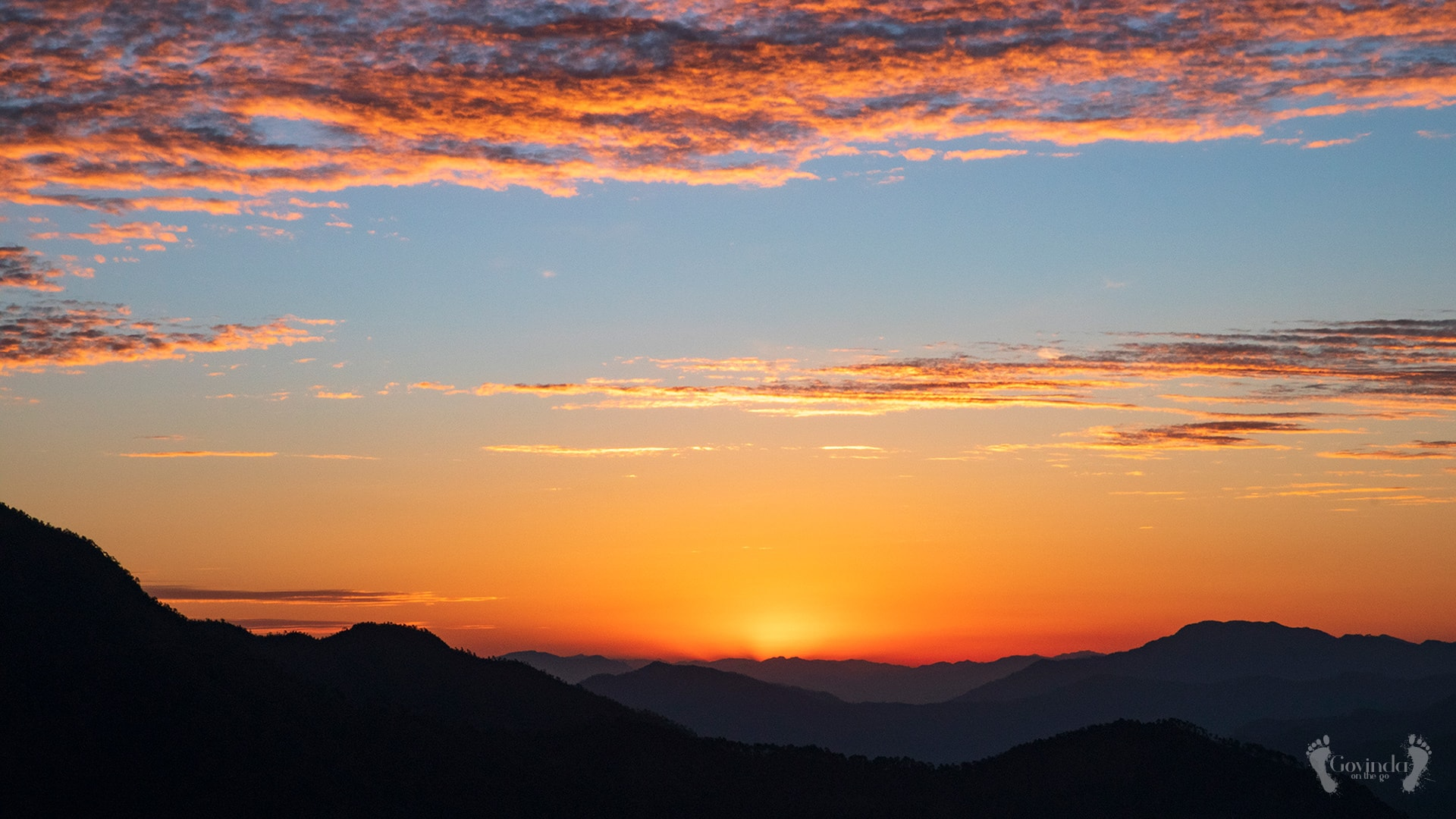 Sun is about to rise above Himalayas