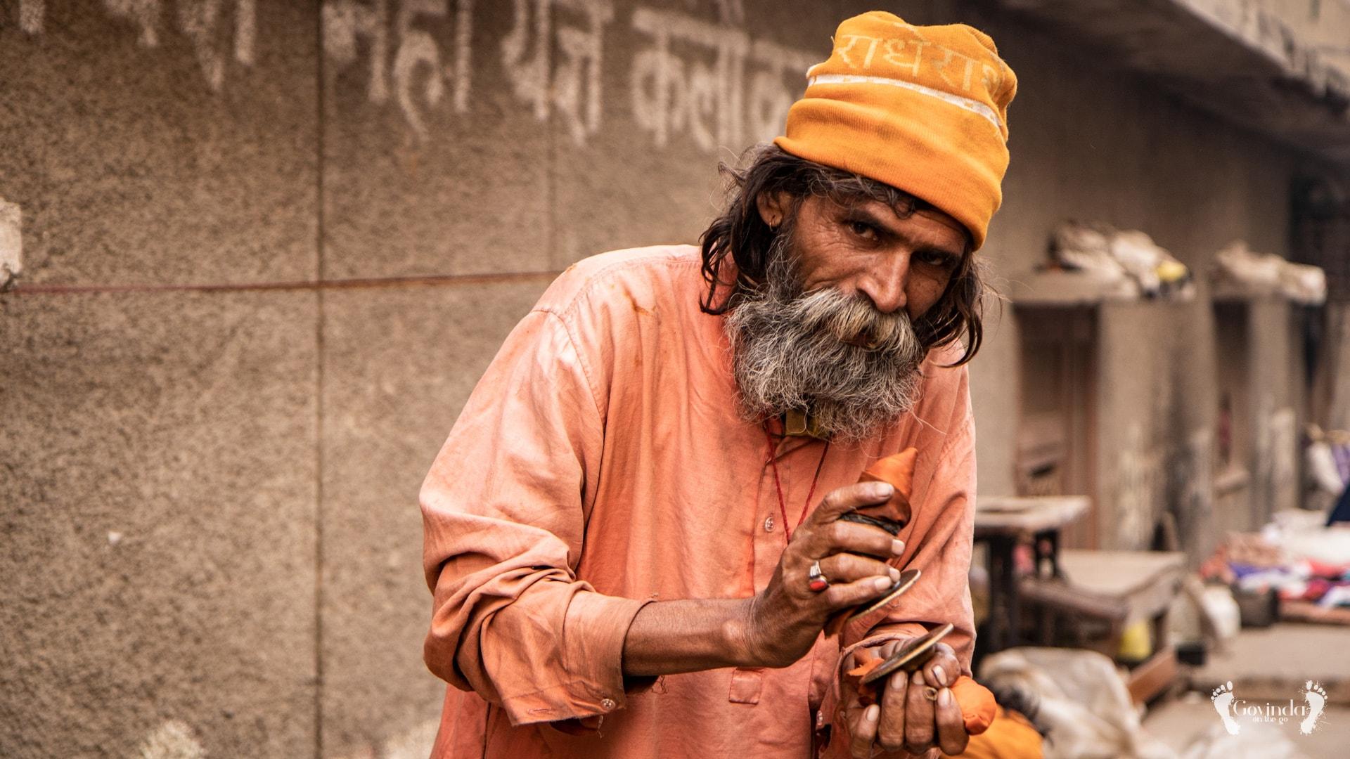 Vrindavan sadhu living on the street