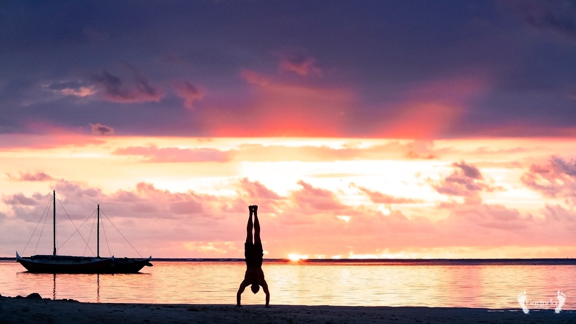 Sunset yoga on Mauritius beach