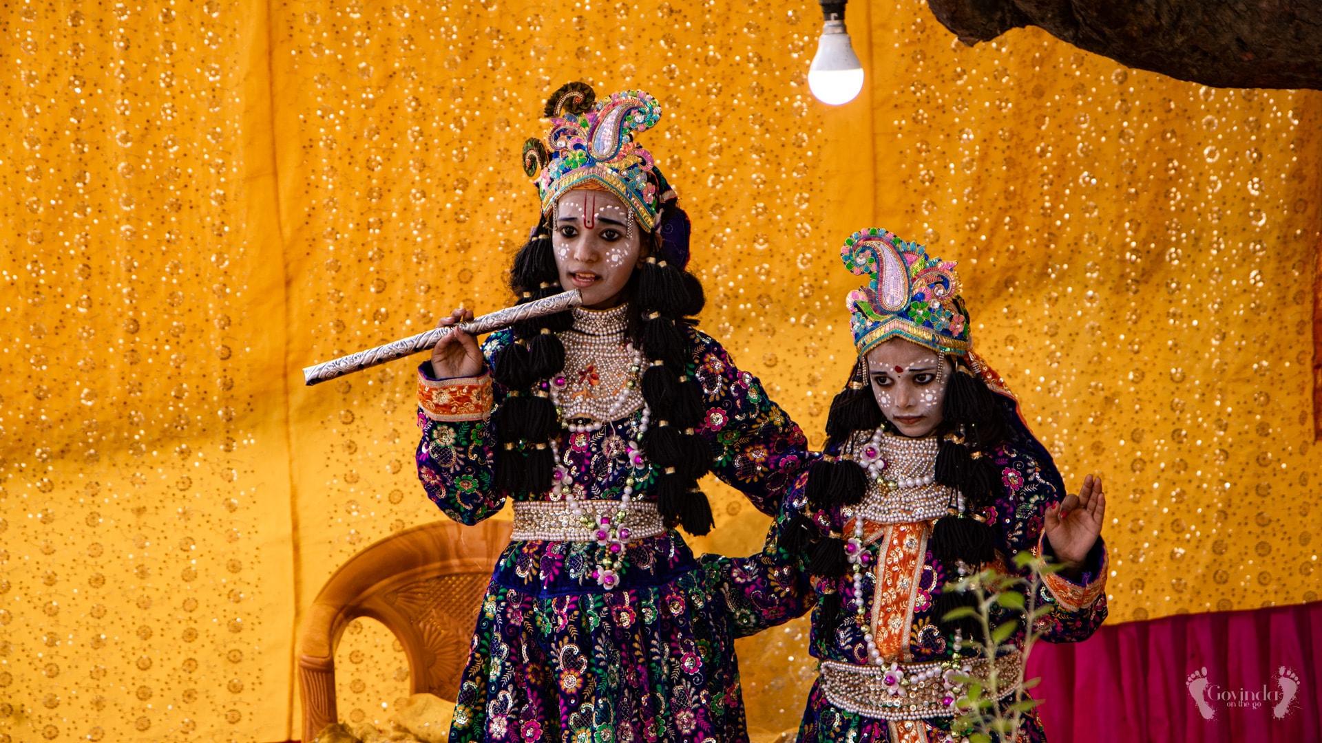 Radha Krishna children actors on Vrindavan road